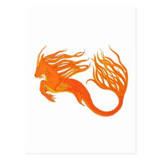 Le feu d'orange de cheval de Koi Carte Postale