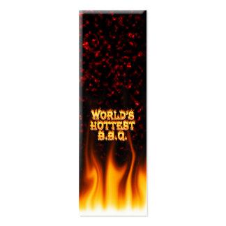 Le feu du BBQ du monde et le rouge de flammes les Carte De Visite Petit Format