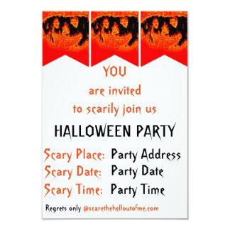 Le feu orange effrayant drôle flambe le citrouille carton d'invitation 8,89 cm x 12,70 cm