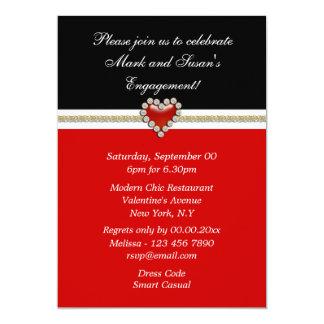 Le fiançailles blanc noir rouge PERSONNALISENT Carton D'invitation 12,7 Cm X 17,78 Cm