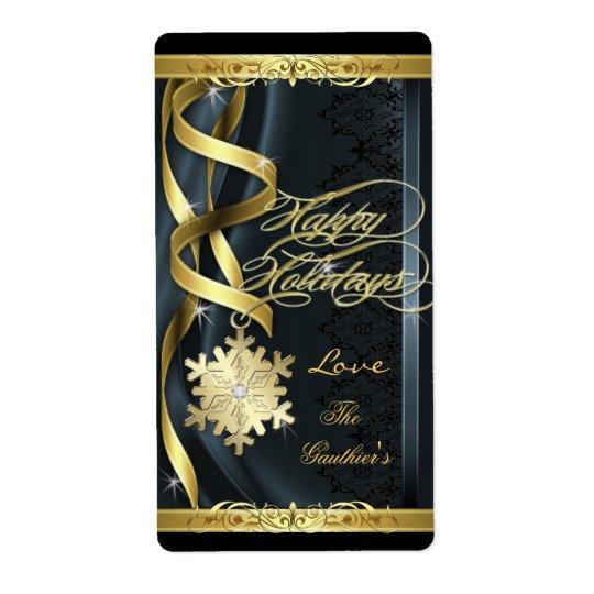 Le flocon de neige doré par noir rêve l'étiquette étiquette d'expédition