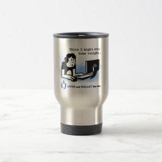 Le foie et le portefeuille aiment ceci mug de voyage en acier inoxydable