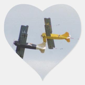 Le Fokker D.VII modèle en vol Sticker Cœur