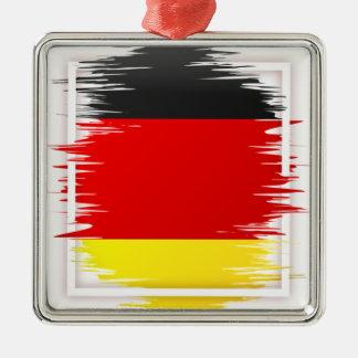 Le football allemand de drapeau ornement carré argenté