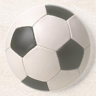 le football blanc noir de 3D Soccerball Dessous De Verre En Grès