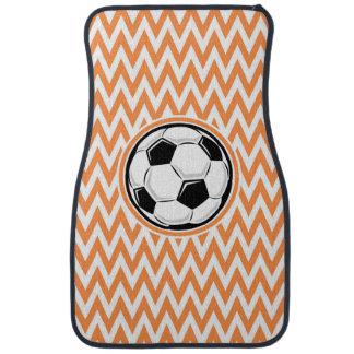 Le football Chevron orange et blanc Tapis De Voiture