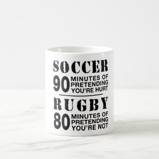 Le football contre le rugby mug