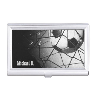 Le football grunge vintage frais dans le but étui pour cartes de visite