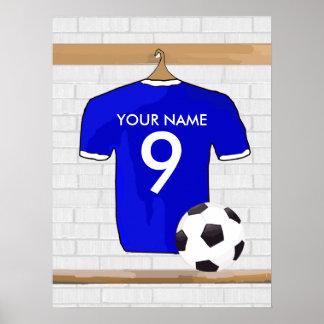 Le football Jersey blanc bleu personnalisé du Poster