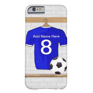 Le football Jersey bleu et blanc personnalisé du Coque iPhone 6 Barely There