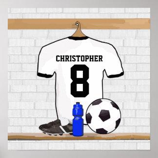 Le football Jersey noir blanc personnalisé du Affiche