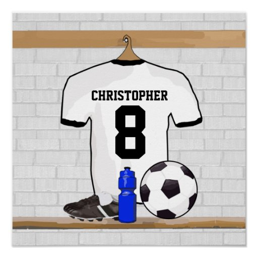 Le football Jersey noir personnalisé du football d Posters