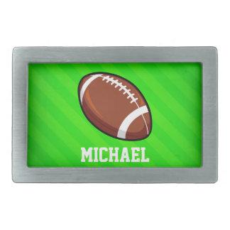 Le football ; Rayures vertes au néon Boucles De Ceinture Rectangulaires