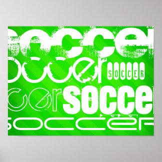 Le football ; Rayures vertes au néon Poster