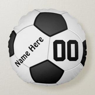 Le football repose le NOM, NOMBRE, vos COULEURS Coussins Ronds