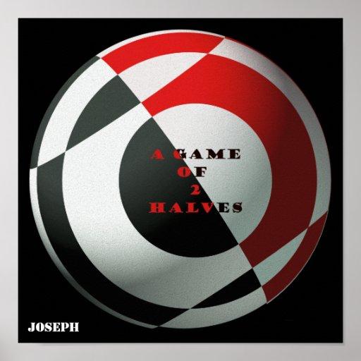 Le football un jeu de 2 moitiés rouges et noires posters
