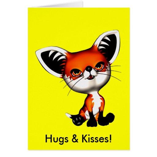Le Fox de chien de bébé étreint la carte de baiser