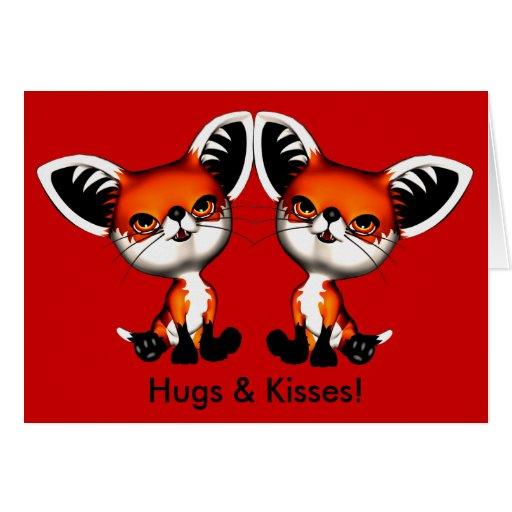 Le Fox de chien de bébé jumelle la carte de baiser