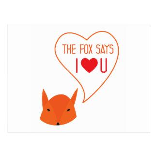 le Fox indique je t'aime ! Cartes Postales