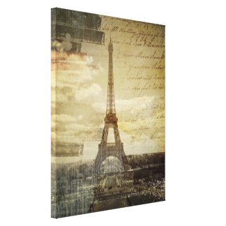 Le Français scripts Tour Eiffel vintage moderne de Toile
