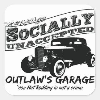 Le garage du hors-la-loi. Hot rod socialement Autocollants Carrés