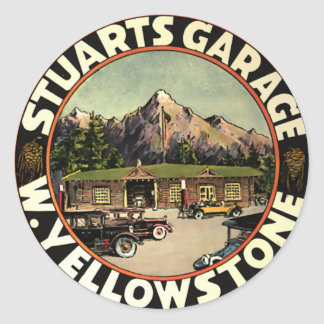 Le garage Yellowstone de Stuart Sticker Rond