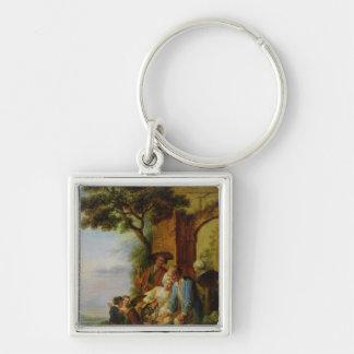 Le garçon de Savoie et son Marmot, 1783 Porte-clé Carré Argenté