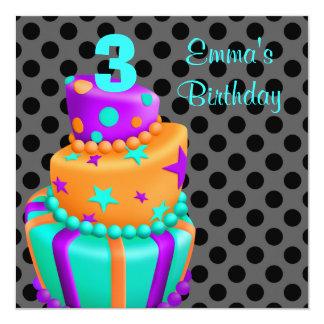Le gâteau de pourpre et de noir présente le 3ème carton d'invitation  13,33 cm