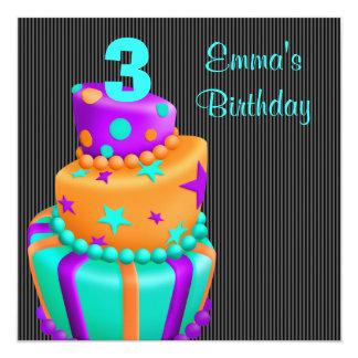 Le gâteau noir pourpre présente le 3ème carton d'invitation  13,33 cm