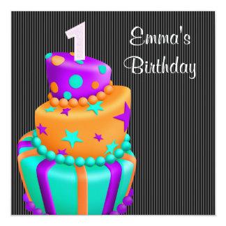 Le gâteau noir pourpre présente le ęr anniversaire carton d'invitation  13,33 cm