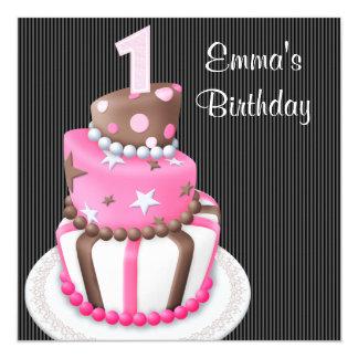 Le gâteau noir rose présente la ?ère fête carton d'invitation  13,33 cm