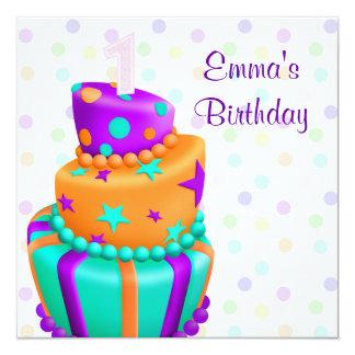 Le gâteau pourpre présente la ?ère fête carton d'invitation  13,33 cm
