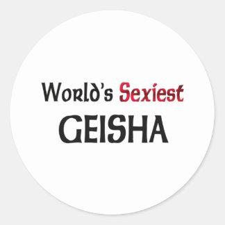 Le geisha le plus sexy du monde autocollant rond