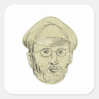 Le Général turc Head Drawing Sticker Carré
