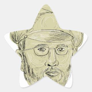 Le Général turc Head Drawing Sticker Étoile