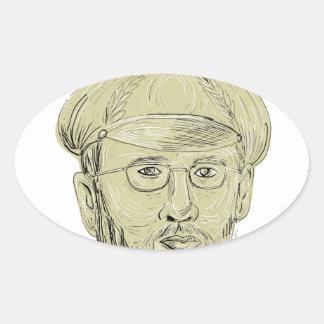 Le Général turc Head Drawing Sticker Ovale