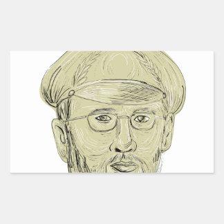 Le Général turc Head Drawing Sticker Rectangulaire