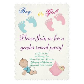 Le genre de garçon ou de fille indiquent adorable invitations personnalisées