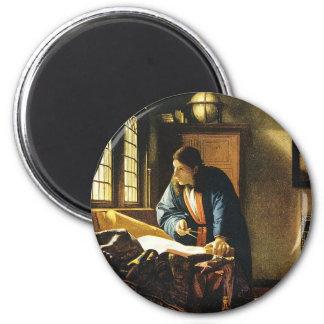 Le géographe de Johannes Vermeer (circa 1669) Magnet Rond 8 Cm