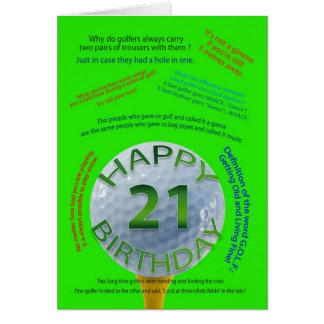Le golf plaisante carte d'anniversaire pour 21 ans