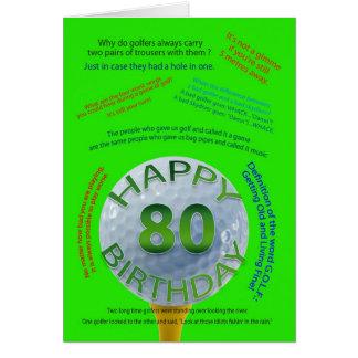 Le golf plaisante carte d'anniversaire pour 80 ans