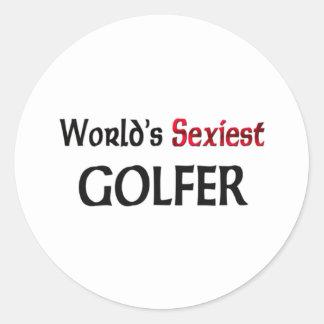 Le golfeur le plus sexy du monde autocollant rond