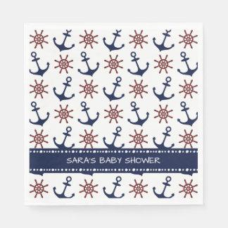Le gouvernail de direction d'ancre de bleu marine serviette en papier