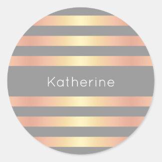 Le gradient rose moderne élégant d'or barre le sticker rond