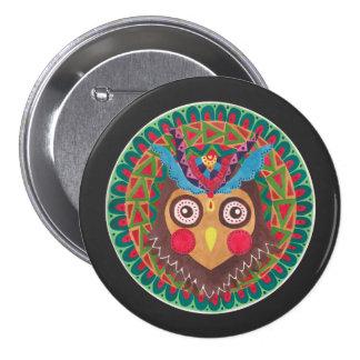 Le grand hibou à cornes tribal badge
