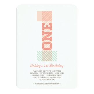 Le grand nombre 1 barre la ?ère fête carton d'invitation  11,43 cm x 15,87 cm