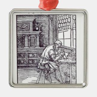 Le graveur de gemme, édité par Hartman Schopper Ornement Carré Argenté