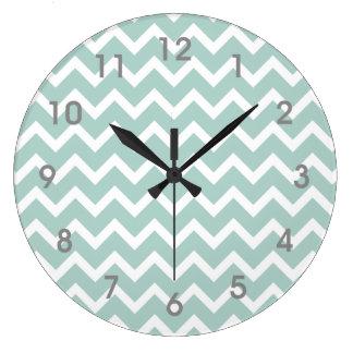 Le gris blanc bleu turquoise moderne d'horloge de grande horloge ronde