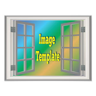 Le gris blanc de fenêtre de Faux créent vos Impression Photo