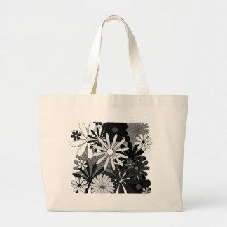 Le gris blanc noir fleurit le jour de mère floral sacs fourre-tout